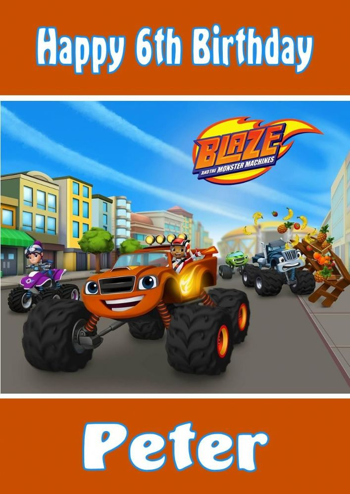 Personalised Blaze and the Monster Machines Birthday Card